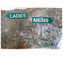 ladies sign above mens sign and next tee sign Poster