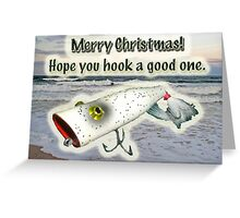 Merry Christmas Greeting Card - Vintage Saltwater Fishing Lure Greeting Card