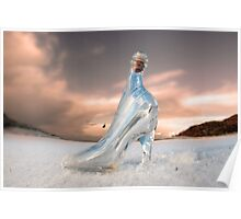 glass slipper on white snow covered golf course Poster