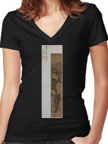 Hashi no ue no bijin to kodomo 00332 Women's Fitted V-Neck T-Shirt