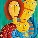 Mother with 3 sons by Julie Nicholls