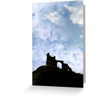 Mow cop castle on rocks in silhouette Greeting Card