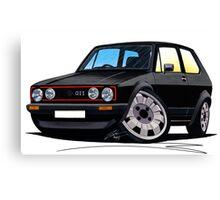 VW Golf GTi (Mk1) Black Canvas Print