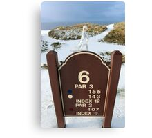 number 6 hole marker sign with glass slipper Canvas Print