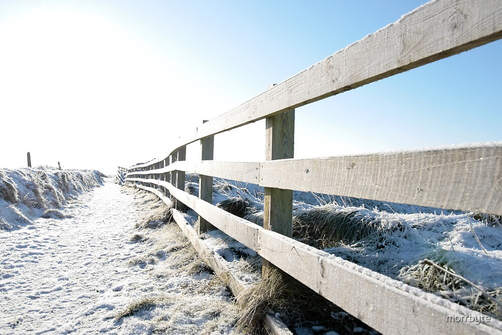 snow covered fenced path on cliff edge walk by morrbyte