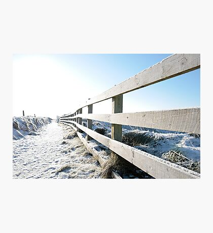 snow covered fenced path on cliff edge walk Photographic Print