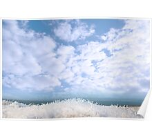 frosty snow covered grass ditch view Poster