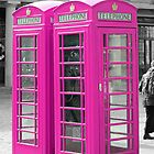 Pink Telephone Box  by Laura  Cutts