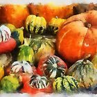 A variety of Pumpkins in watercolour by buttonpresser