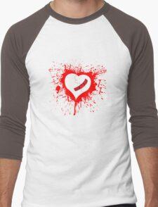 Emo Graffit Heart Valentines Men's Baseball ¾ T-Shirt