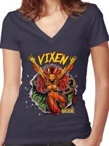 SheVibe Vixen Logo Women's Fitted V-Neck T-Shirt