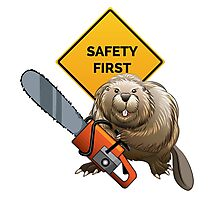 Beaver with a chainsaw Photographic Print
