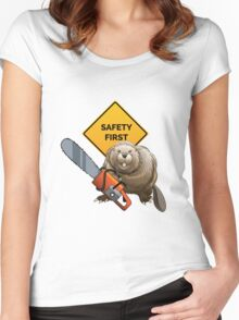 Beaver with a chainsaw Women's Fitted Scoop T-Shirt