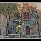Small Court in Fumone Italy by Warren. A. Williams