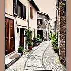 Down The Street in Fumone Italy by Warren. A. Williams