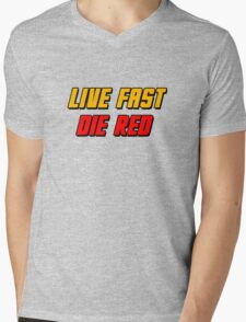Live Fast Die Red Mens V-Neck T-Shirt