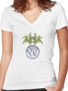VW Palm Trees Surf Shirt-Sticker Women's Fitted V-Neck T-Shirt