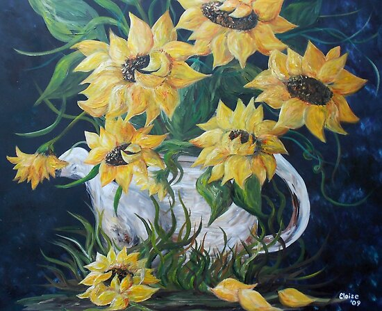 Sunflowers in a Country Pot by EloiseArt