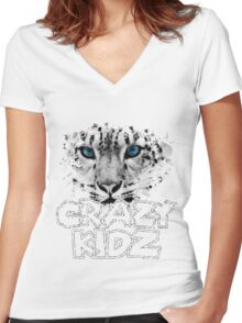 Leopard - Crazy Kids Women's Fitted V-Neck T-Shirt