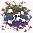 Rainbow Skull & Crossbones by Roseanne Jones