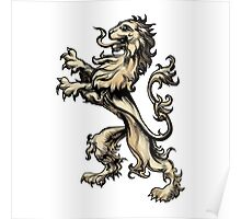 Heraldry lion drawn in engraving style Poster
