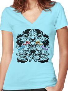 Teenage Mutant Ninja Rorschach Women's Fitted V-Neck T-Shirt