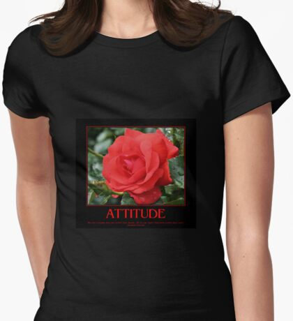 Attitude Quote Red Rose Womens Fitted T-Shirt
