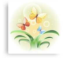 sprouts and butterflies Canvas Print
