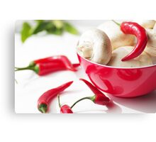 fresh mushrooms with chilli decorated Canvas Print