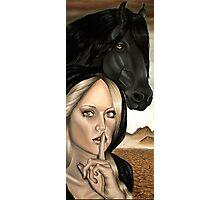 Famine Horsemen Woman in Black Cloak Black Horse Photographic Print