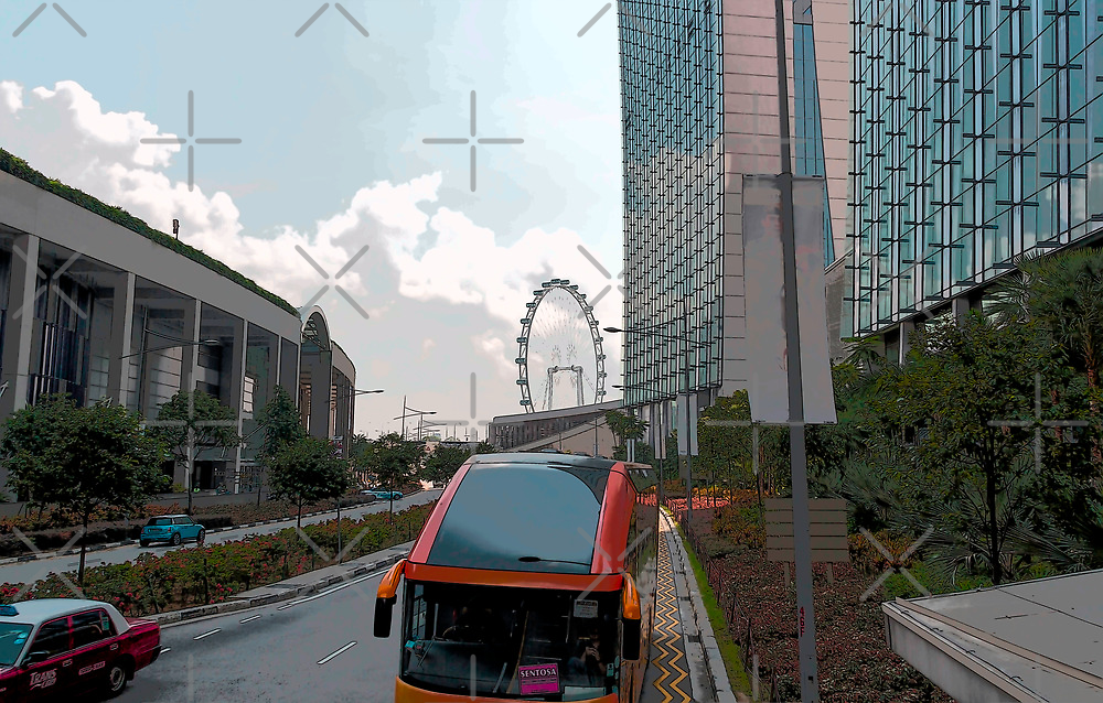 Cartoon - Tourist bus for Sentosa in front of the Marina Bay Sands by ashishagarwal74