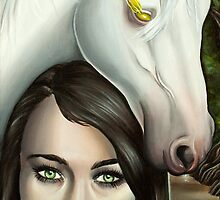 Pestilence Girl with White Horse in Bayou by plantiebee
