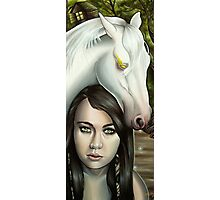 Pestilence Girl with White Horse in Bayou Photographic Print