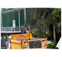 Cartoon - A dumper truck in the streets of Singapore Poster