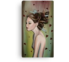 Girl with Wings and Flowers in her Hair Canvas Print
