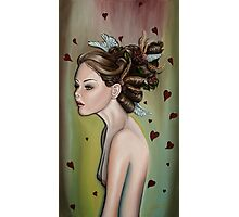 Girl with Wings and Flowers in her Hair Photographic Print