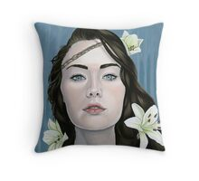 Longing Portrait of Girl with Lilies Throw Pillow