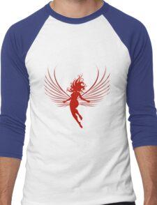 Sulhoutte of flying woman  Men's Baseball ¾ T-Shirt