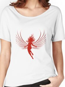 Sulhoutte of flying woman  Women's Relaxed Fit T-Shirt