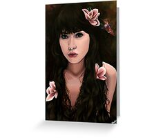 Nectar Girl with Magnolia Flowers and Hummingbird Greeting Card