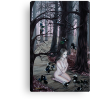 Omen Girl in Purple Forest with Magpie Birds Canvas Print