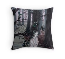 Omen Girl in Purple Forest with Magpie Birds Throw Pillow