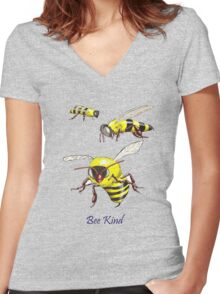 Bee Kind Women's Fitted V-Neck T-Shirt