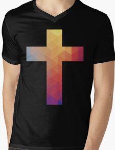 Rainbow Cross Mens V-Neck T-Shirt