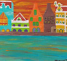 Curacao's Handelskade Abstract by Melissa Vijay Bharwani