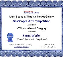 """4th Place Overall Category-SeaScapes Competition-""""Nature's Intensity in Deep Blues"""" by Susan Werby"""