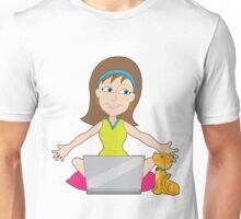 Happy Laptop Lady Unisex T-Shirt