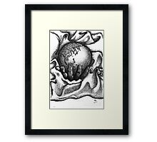 Earth in my palm lying on a blanket Framed Print