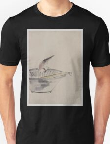 A bird perched on the edge of a bowl with head cocked looking at a utensil in the bowl 001 Unisex T-Shirt