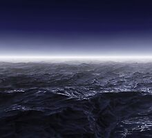 Dark stormy sea waters in foggy night by zalkgraph